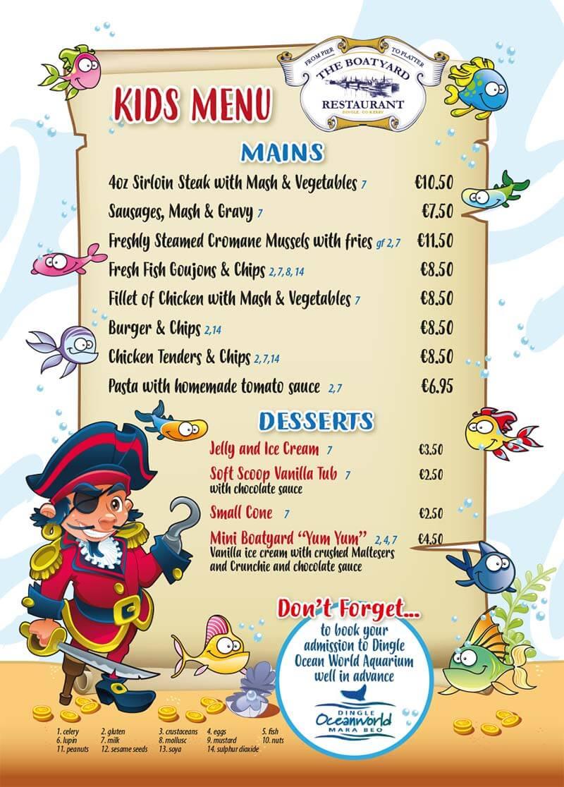The Boatyard kids menu 2021